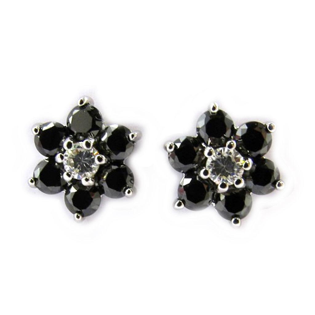 Boucles argent \'Fleurs de Cristal\' noir  - [M1743]