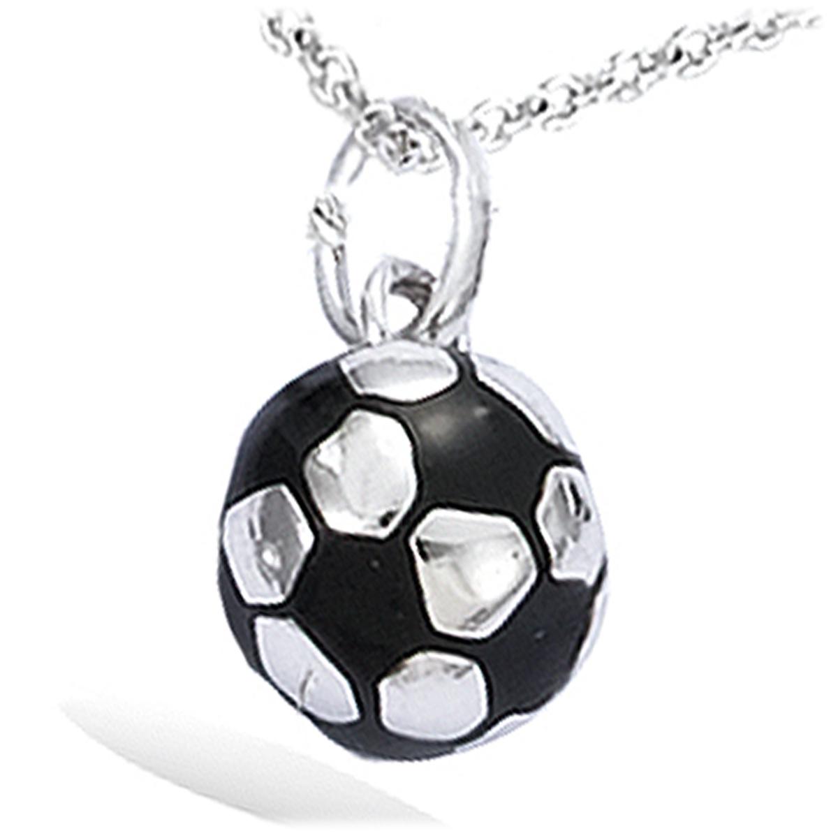 Pendentif Argent \'Football\' noir argenté (rhodié) - 10 mm - [C6930]