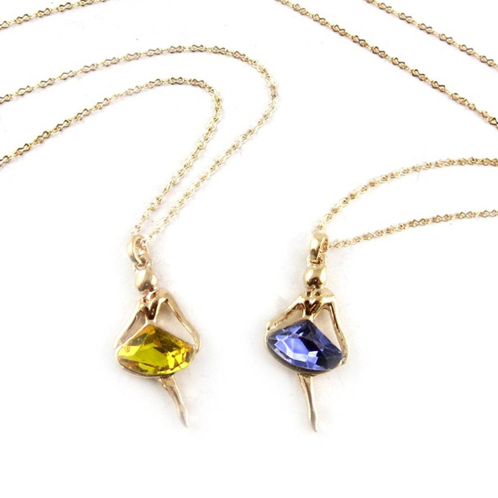 2 colliers créateur \'Ballerines\' jaune violet - [K6969]