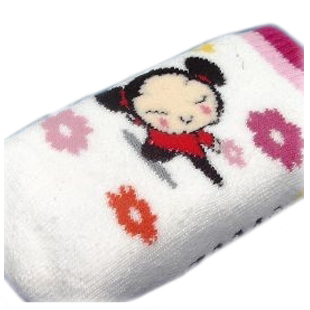 Chaussette Portable \'Pucca\' Blanc Rouge - [C5696]