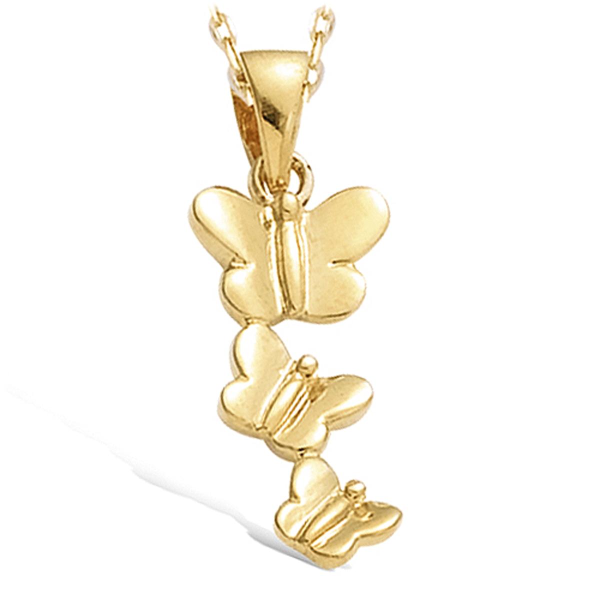 Pendentif Plaqué Or \'Danse de Papillons\' doré - 10x23 mm - [C6932]