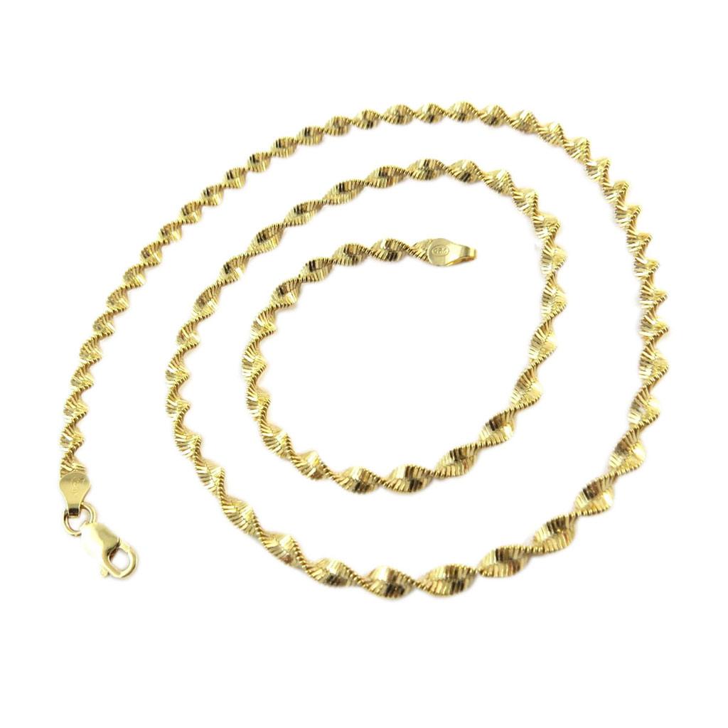 Chaine Plaqué Or \'Corde Fantaisie\' 45 cm 35 mm - [D9560]