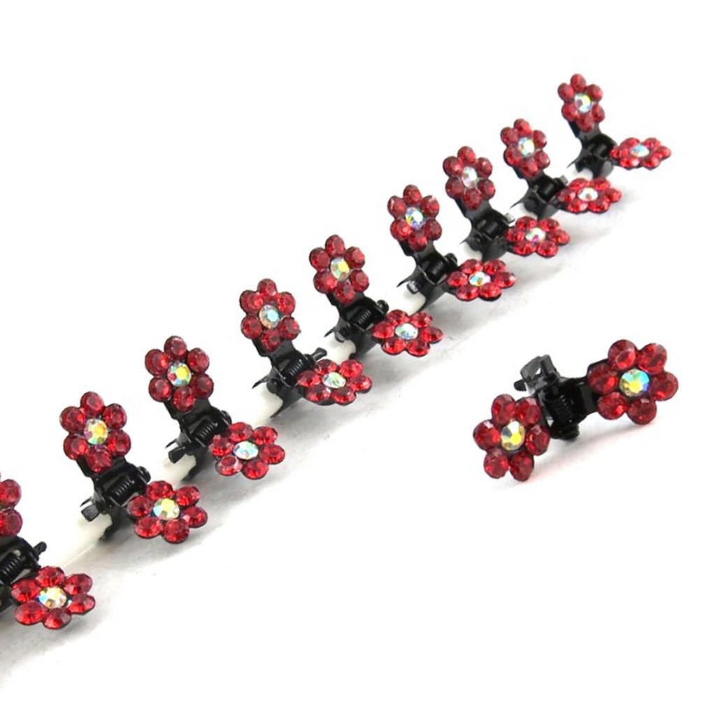 12 minis pinces \'Sissi\' rouge - [K7981]