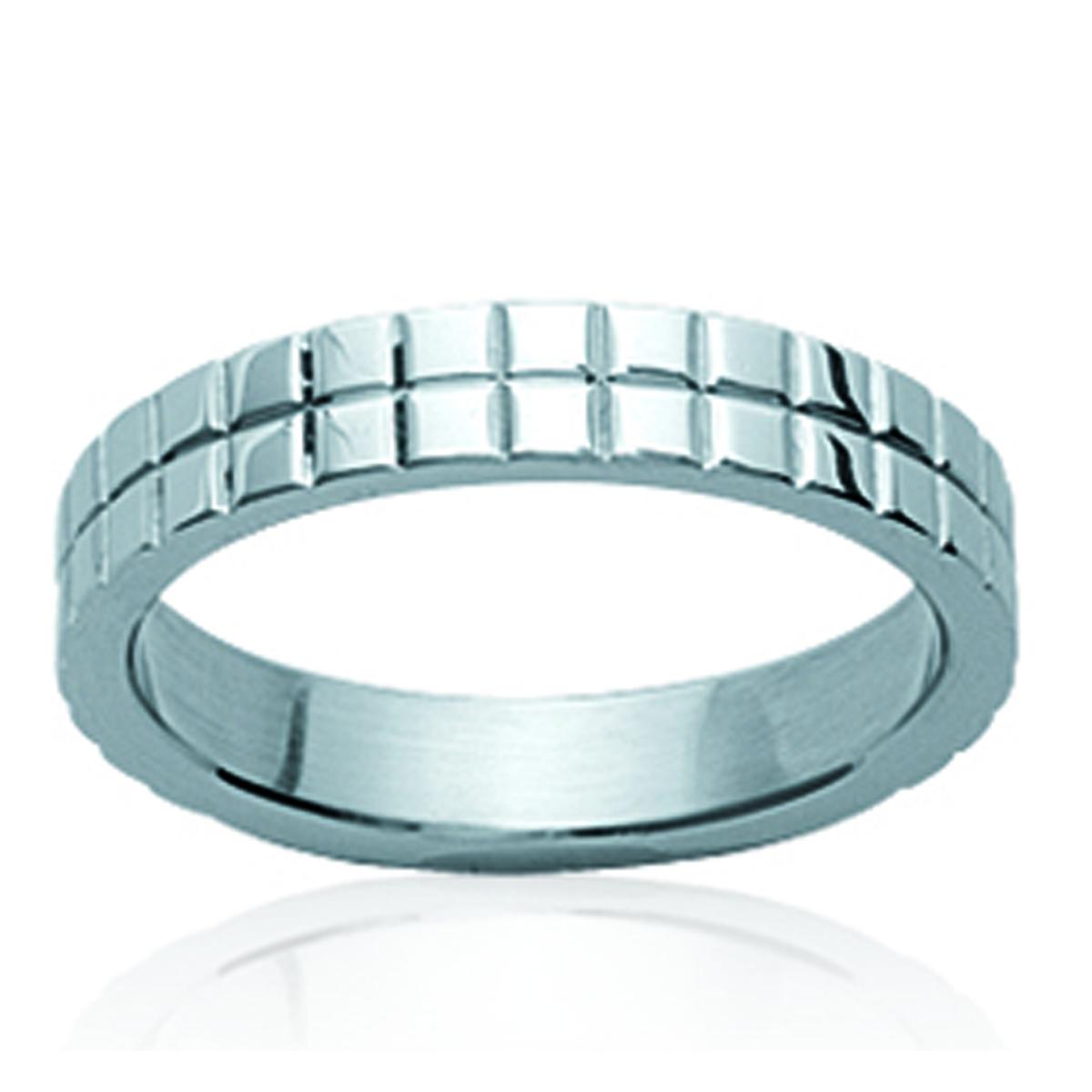 Bague acier \'Chorégraphie\' argenté - 4 mm - [K2451]