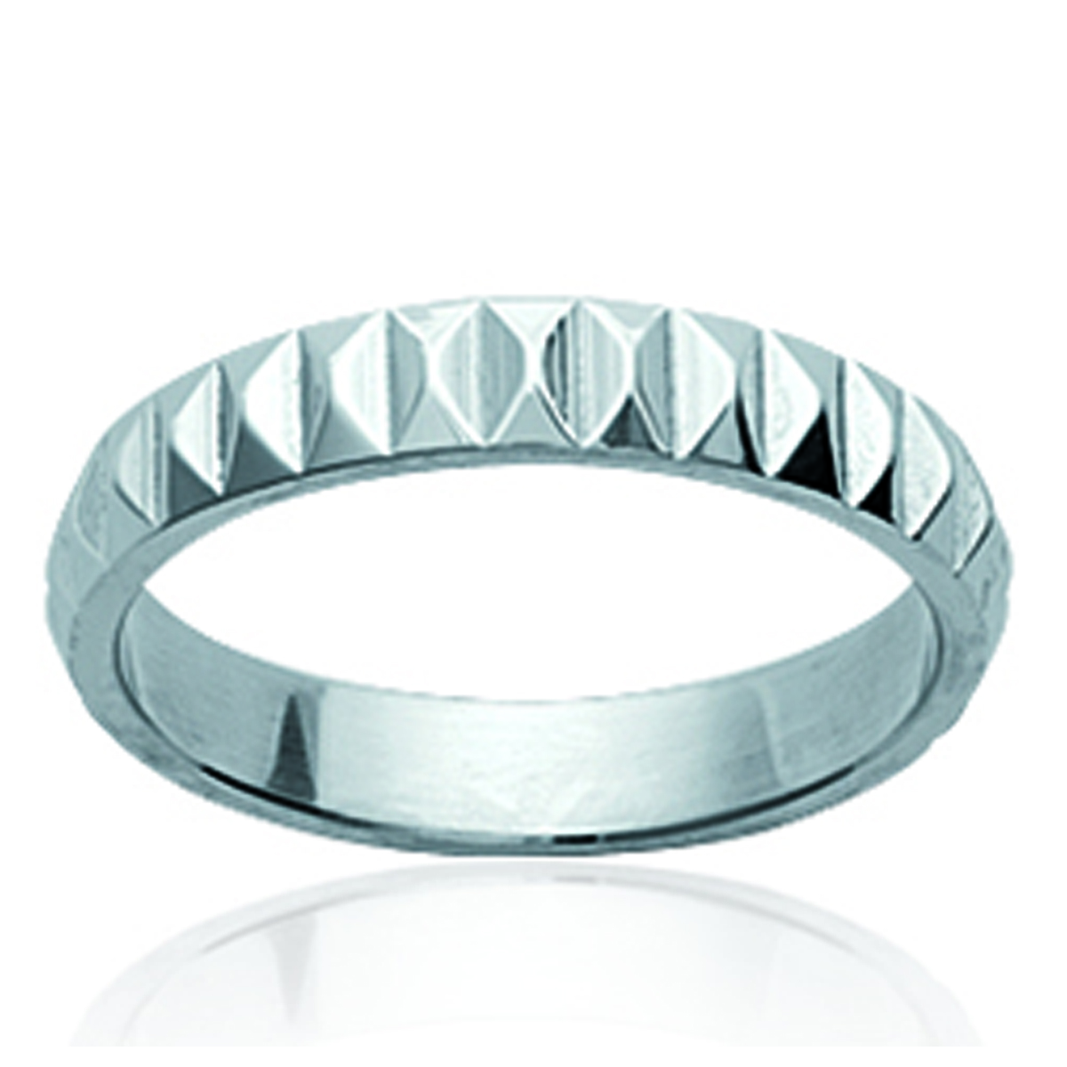Bague acier \'Chorégraphie\' argenté - 4 mm - [K2452]