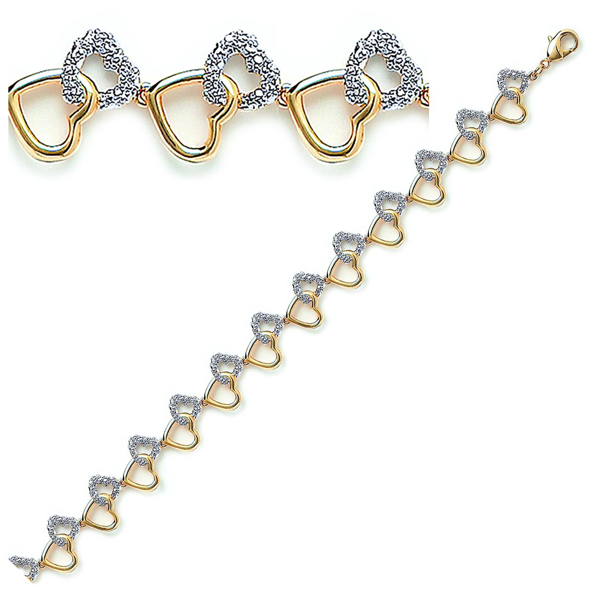 Bracelet Plaqué Or \'Love\' blanc doré - 13 mm - [D4574]