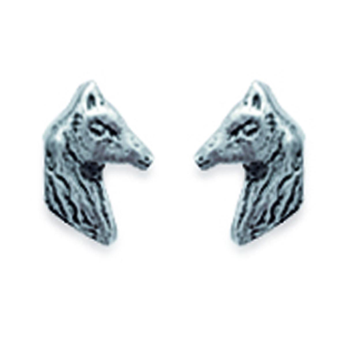 Boucles Argent \'Chevaux\' argenté - 4x6 mm - [D7450]