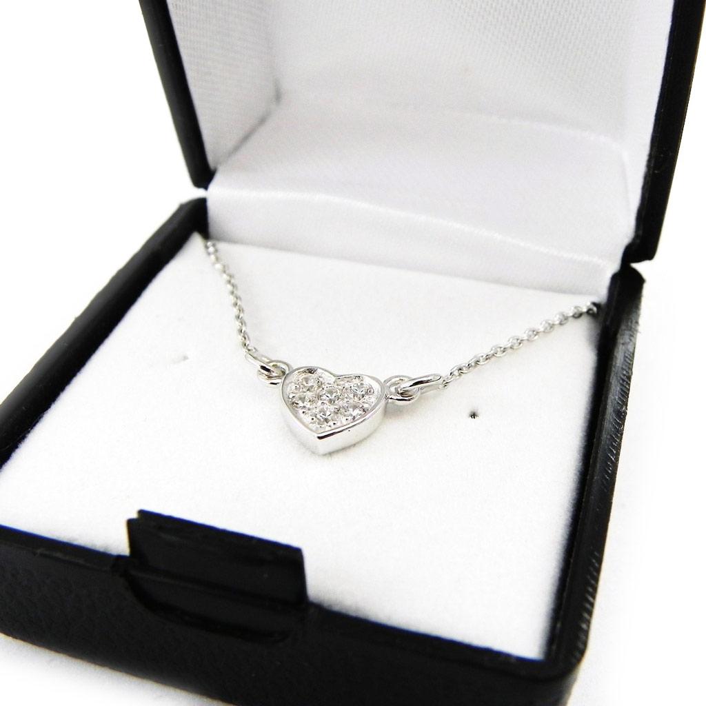 Chaine Collier Argent \'Pretty Heart\' blanc argenté (rhodié) - 6 mm - [D8037]