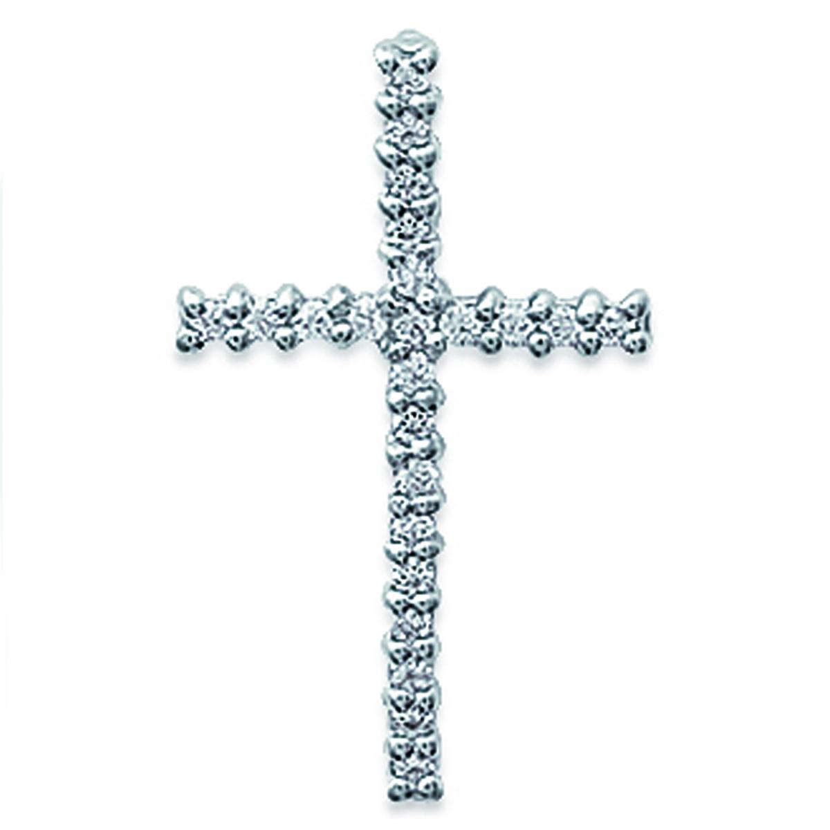 Pendentif Argent \'Croix Pureté\' Blanc argenté (rhodié) - 15x25 mm - [B9899]