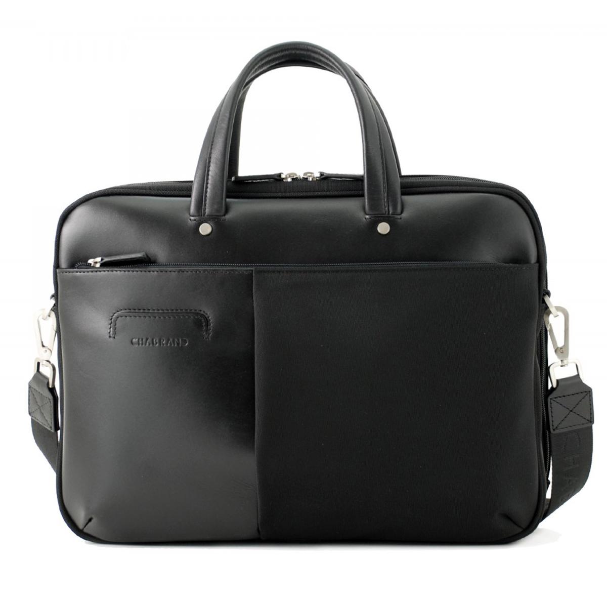Porte-documents  cuir et toile \'Chabrand\' noir (spécial ordinateur 13\') - 40x31x8 cm - [Z0026]