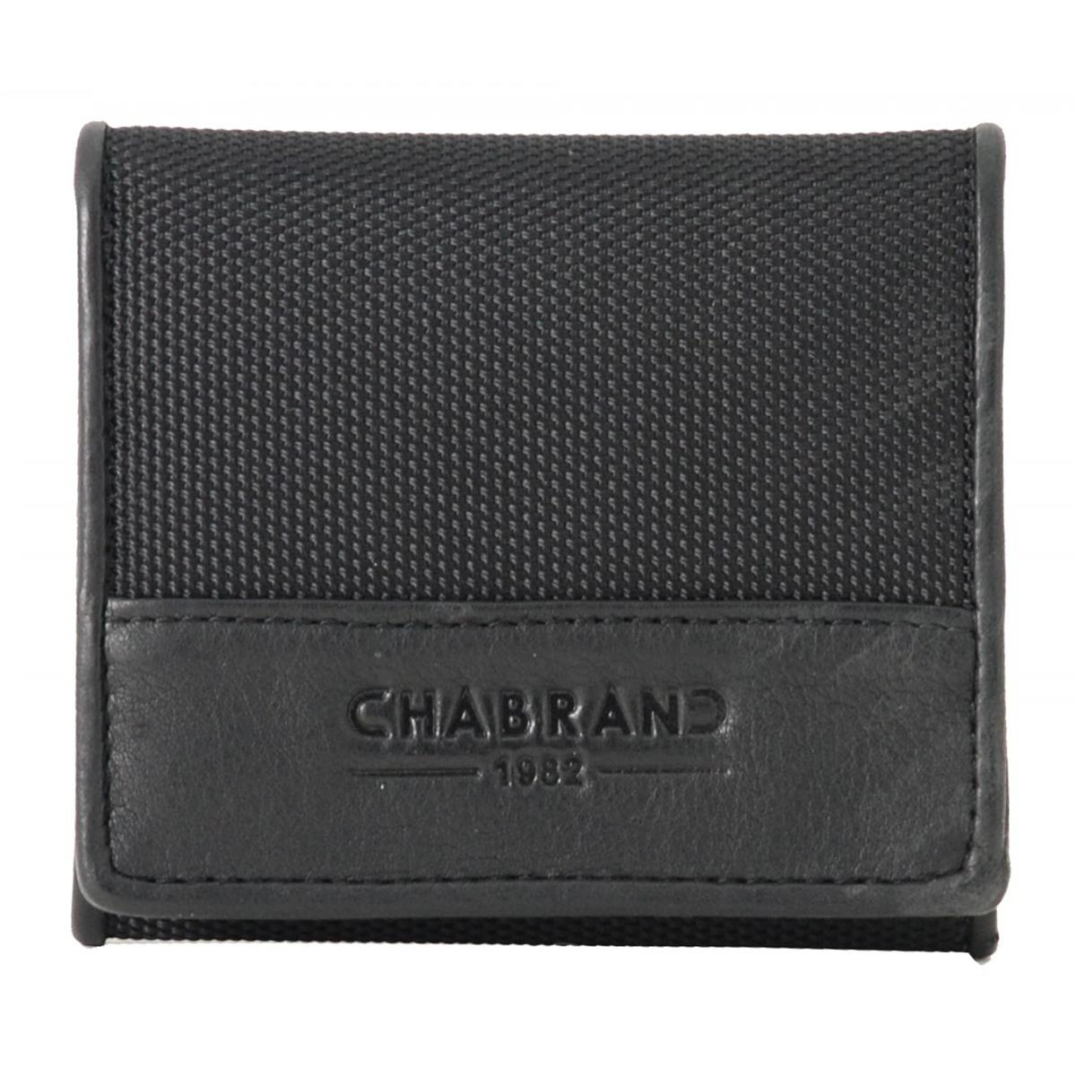 Porte-monnaie toile et cuir \'Chabrand\' noir - 10x9x3 cm - [Z0034]