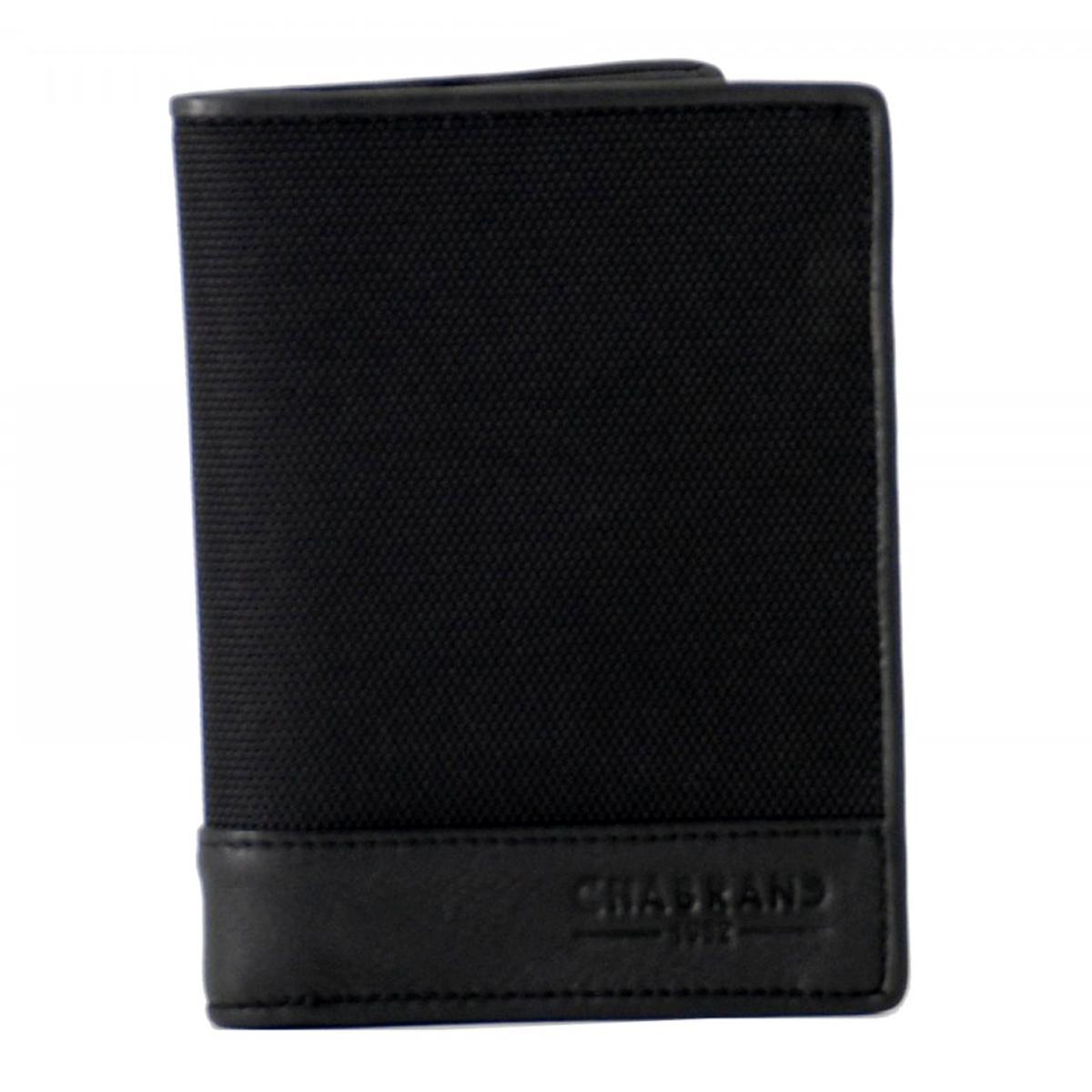Portefeuille toile et cuir \'Chabrand\' noir - 15x11x2 cm - [Z0036]