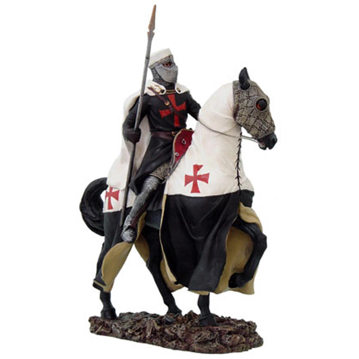 Figurine \'Chevalier Templier\' gris blanc rouge - 305 cm - [R2789]