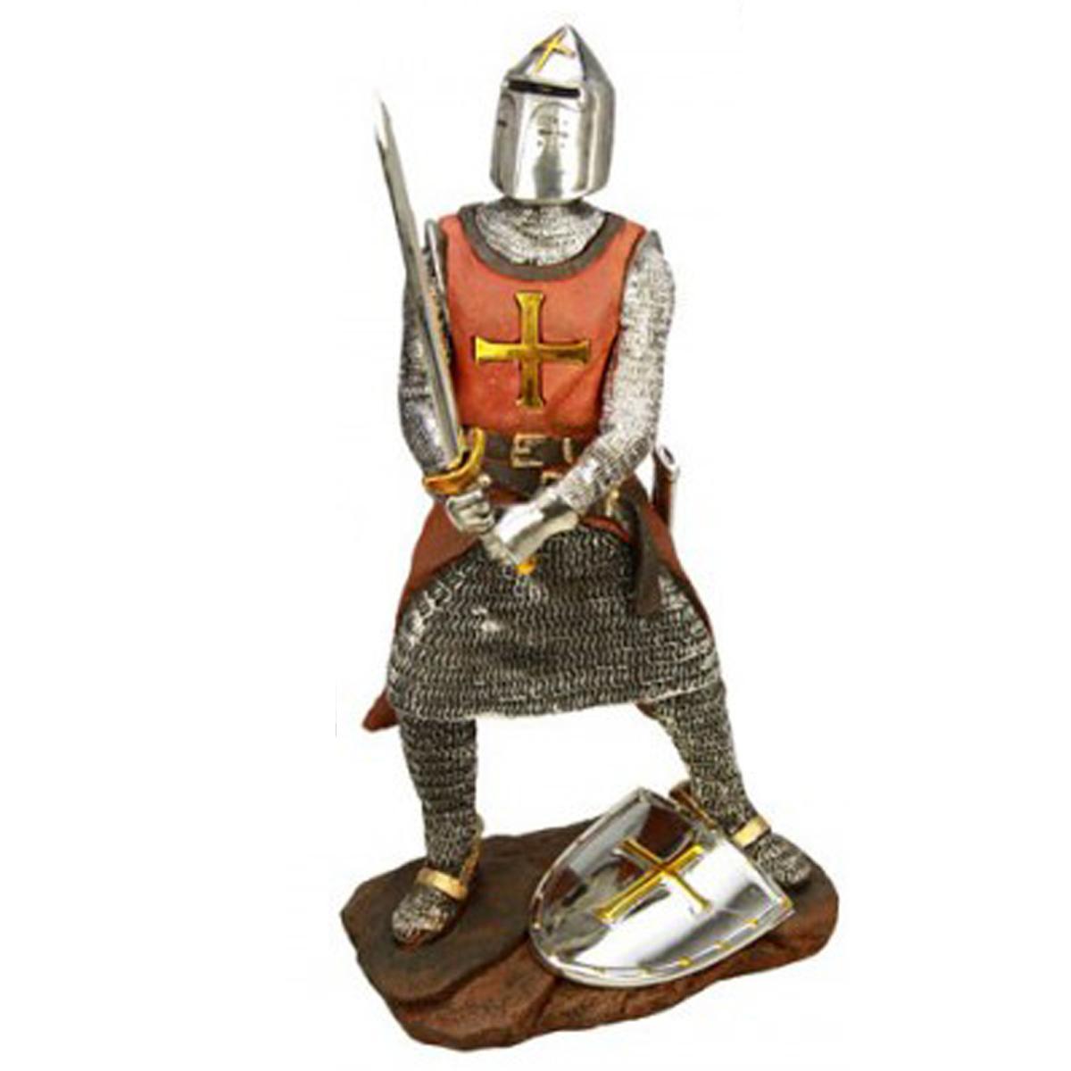 Figurine \'Chevalier Templier\' rouge argenté - 355 cm - [M0010]