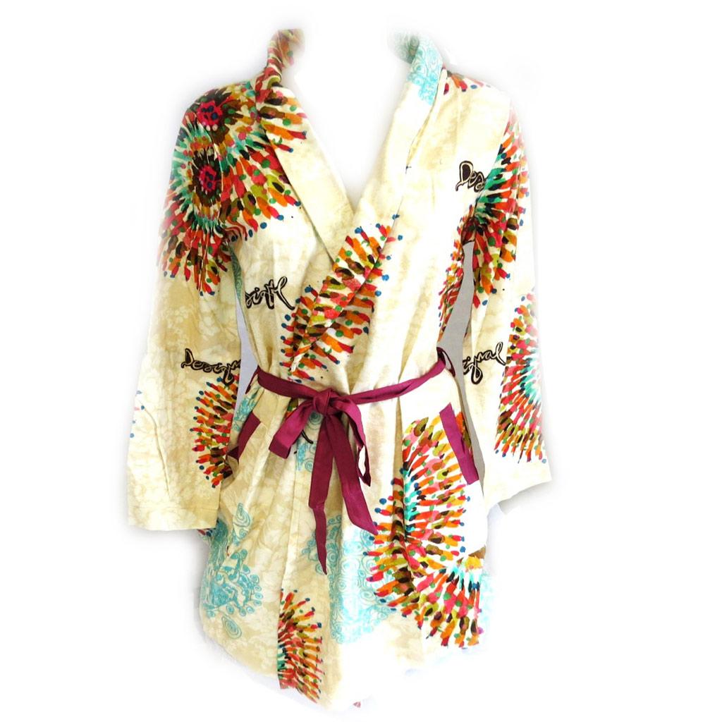 Kimono créateur \'Desigual\' beige multicolore - [M0088]