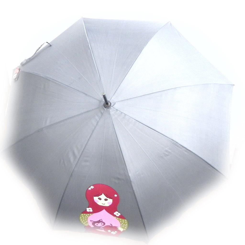 Parapluie Neyrat \'Poupées Russes\' gris rouge canne - [I0229]
