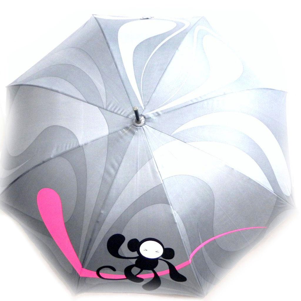 Parapluie Neyrat \'Singe\' gris rose canne - [I0230]