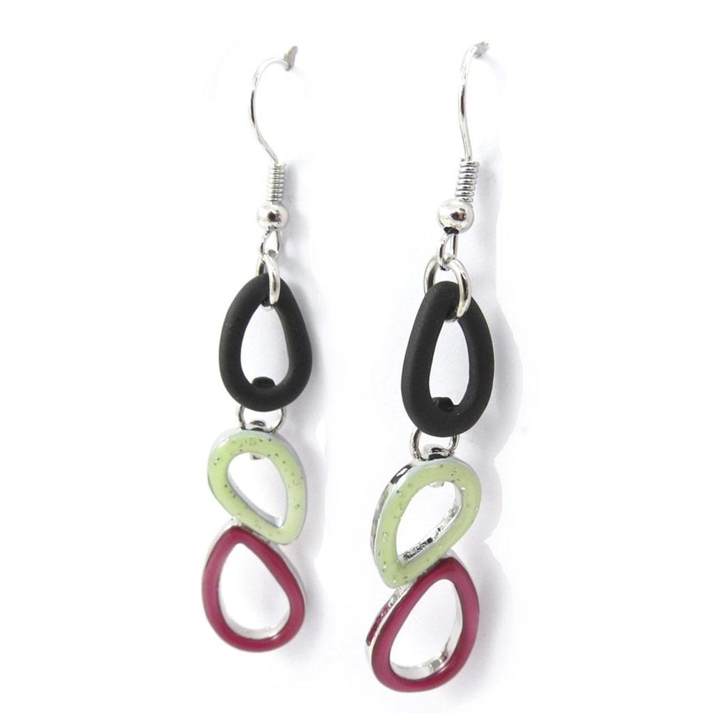 Boucles créateur \'Coloriage\' noir vert rose - [K0222]