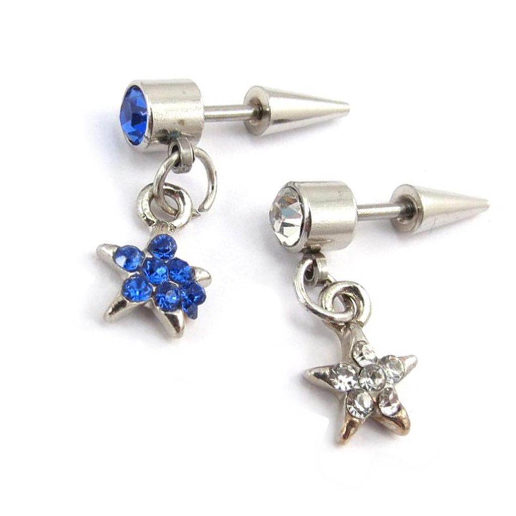 Paire de piercings boucles \'Etoiles\' bleu blanc - [K0268]