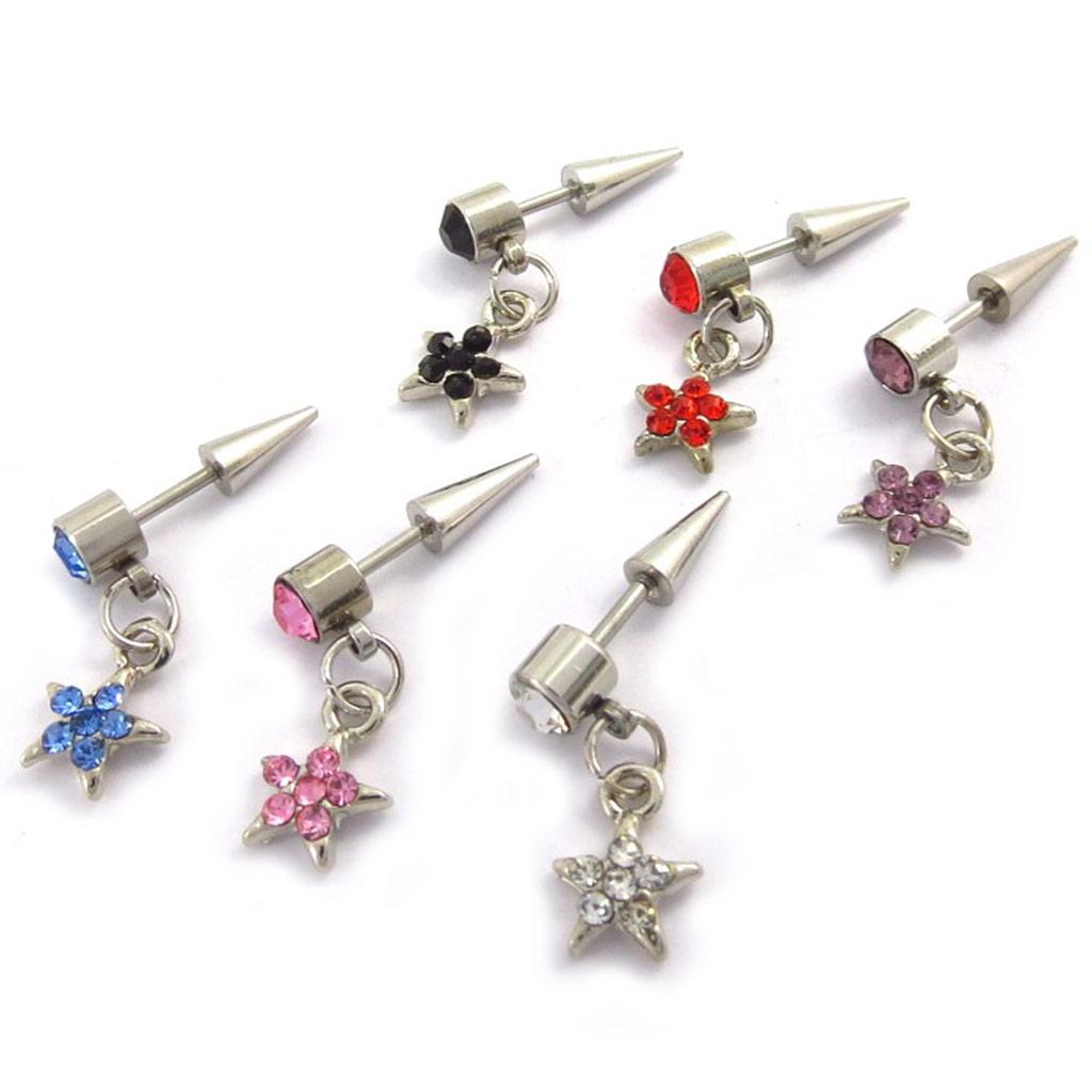 Set de 6 piercings boucles \'Etoiles\' tutti frutti - [K0269]