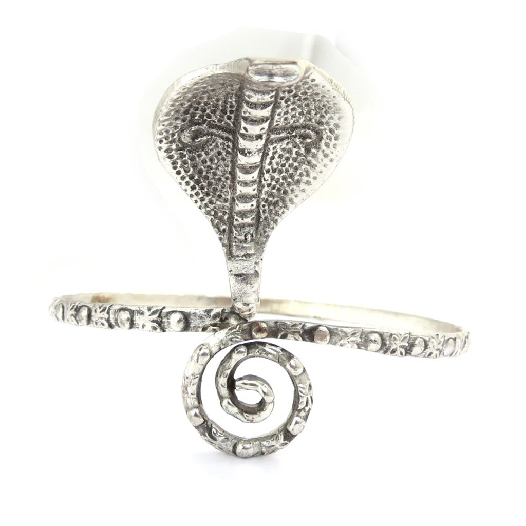 Bracelet bras créateur \'Cobra\' argenté - [K0279]