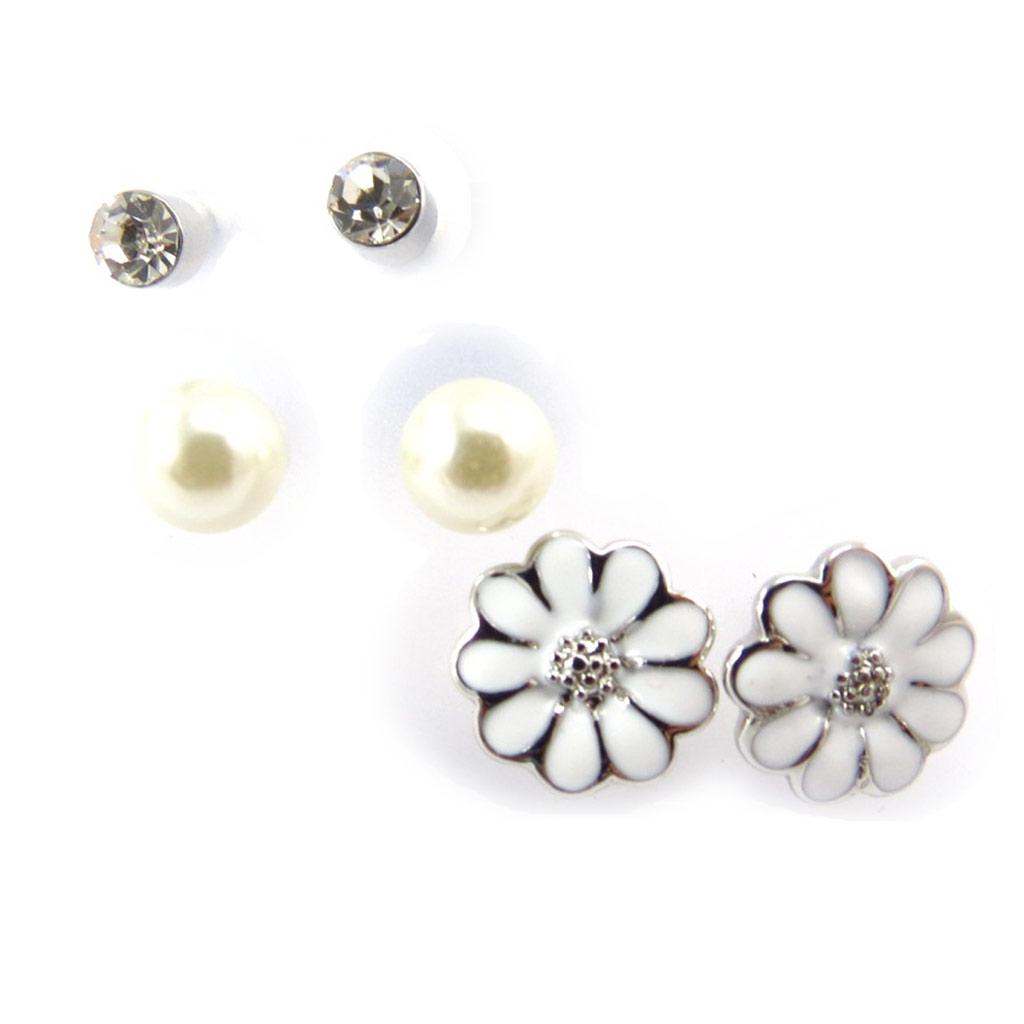 3 paires de boucles \'Flora\' blanc ivoire - [K0288]