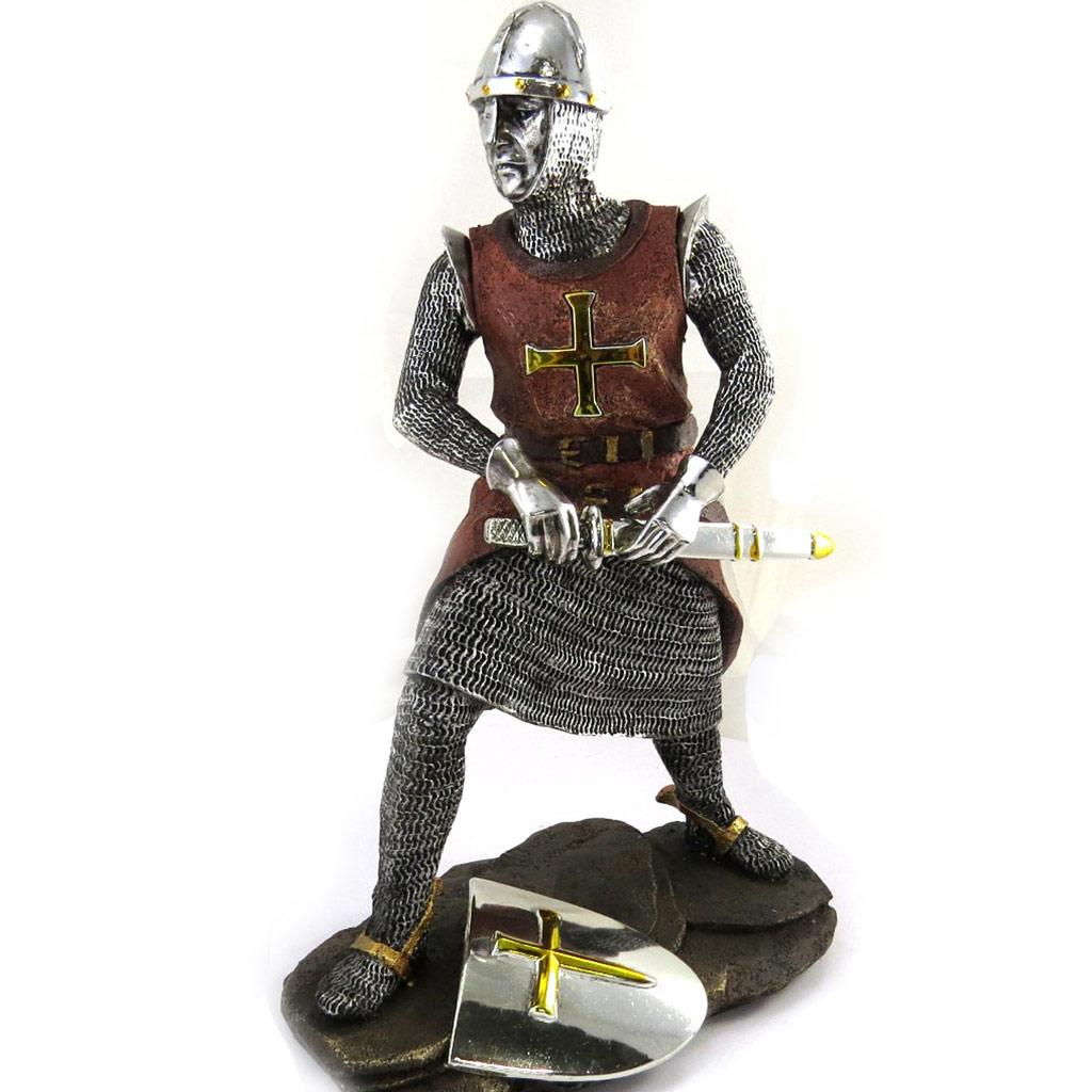 Figurine \'Chevalier Templier\' marron argenté - [M0557]