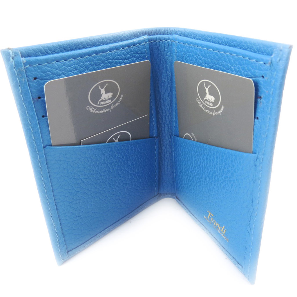 Porte-cartes Cuir \'Frandi\' bleu grainé - [K0355]