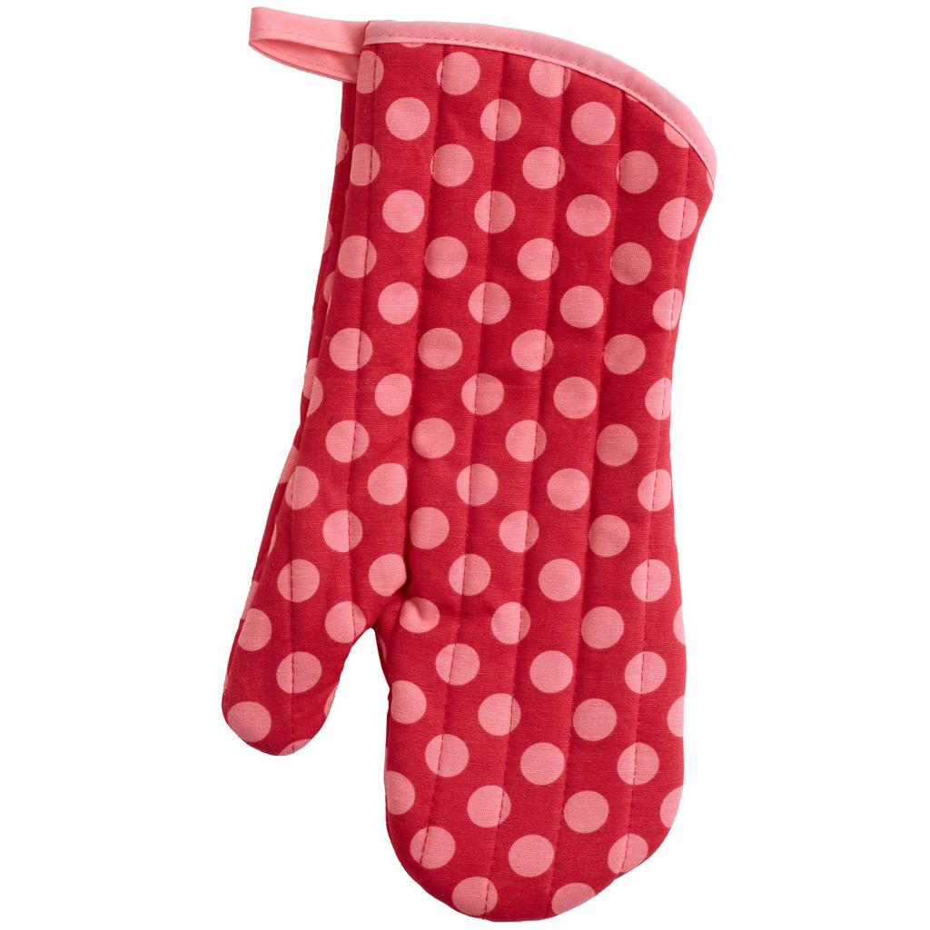 Gant de cuisine créateur \'Hôtesse\' Petits pois rouge rose - [I0648]