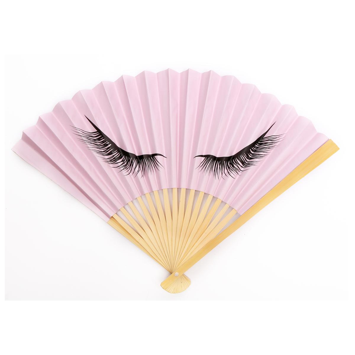 Eventail papier \'Diva - Yeux Endormis\' rose - ouvert 37x21 cm - [R0001]