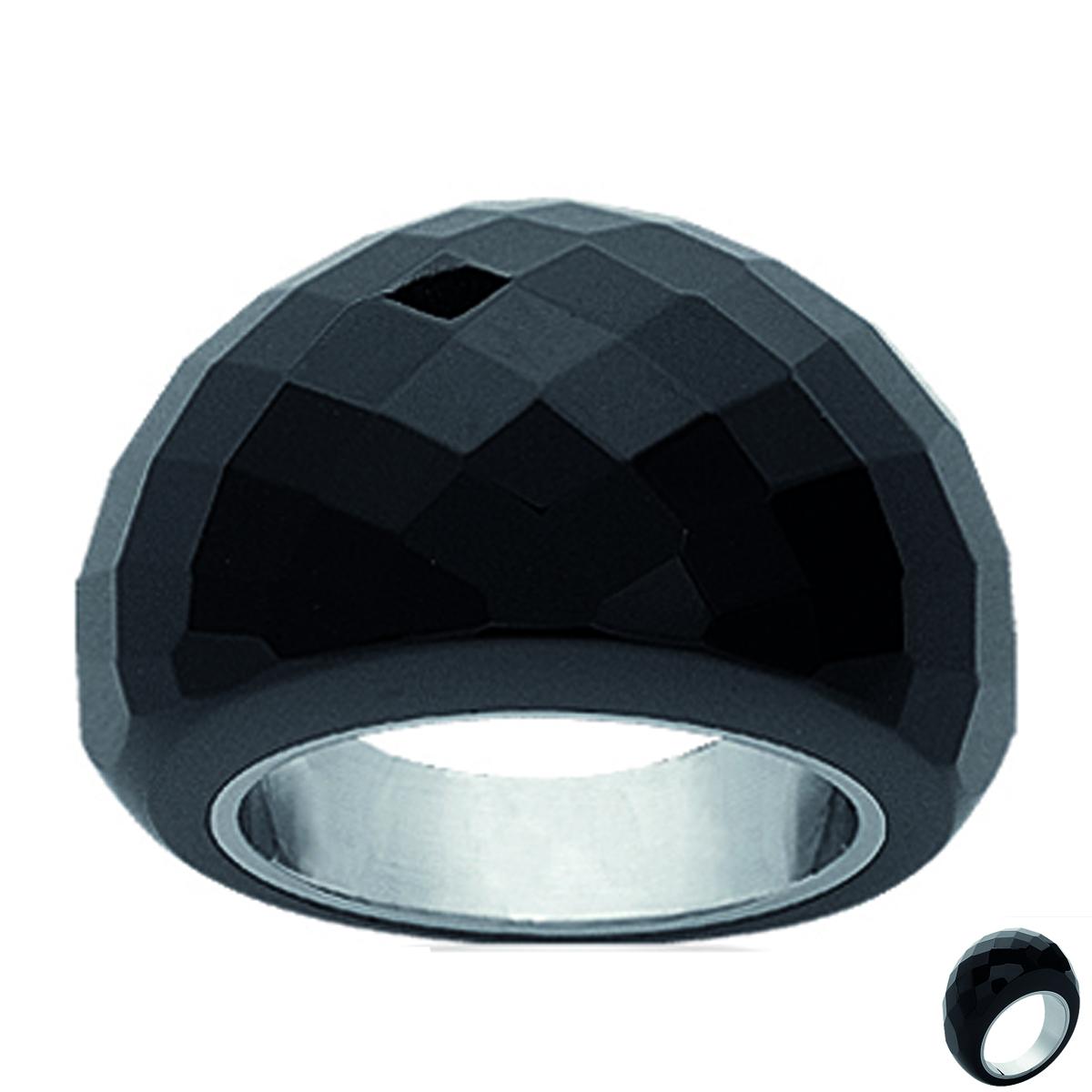 Bague acier \'Mineralia\' agate noir - 15 mm - [I1097]