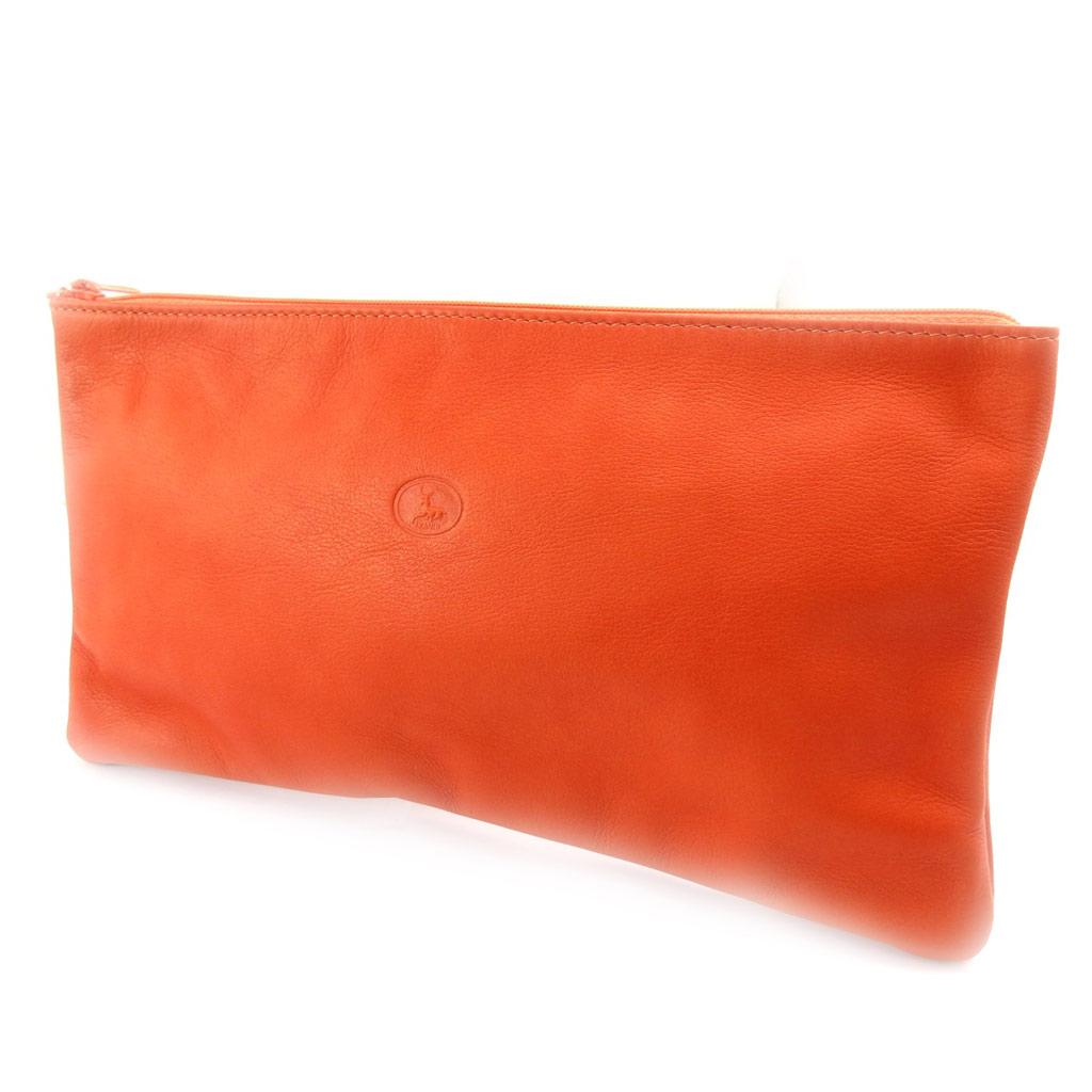 Grande trousse à maquillage Cuir \'Frandi\' orange - [K0504]