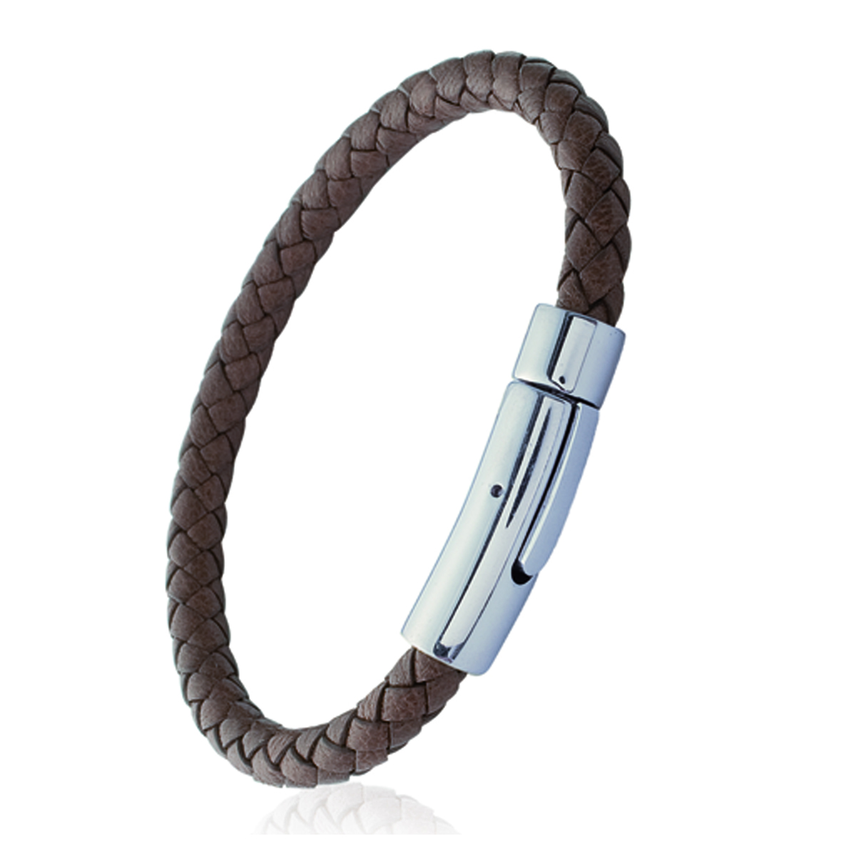 Bracelet acier cuir \'Tony\' marron argenté - 6 mm - [I1123]