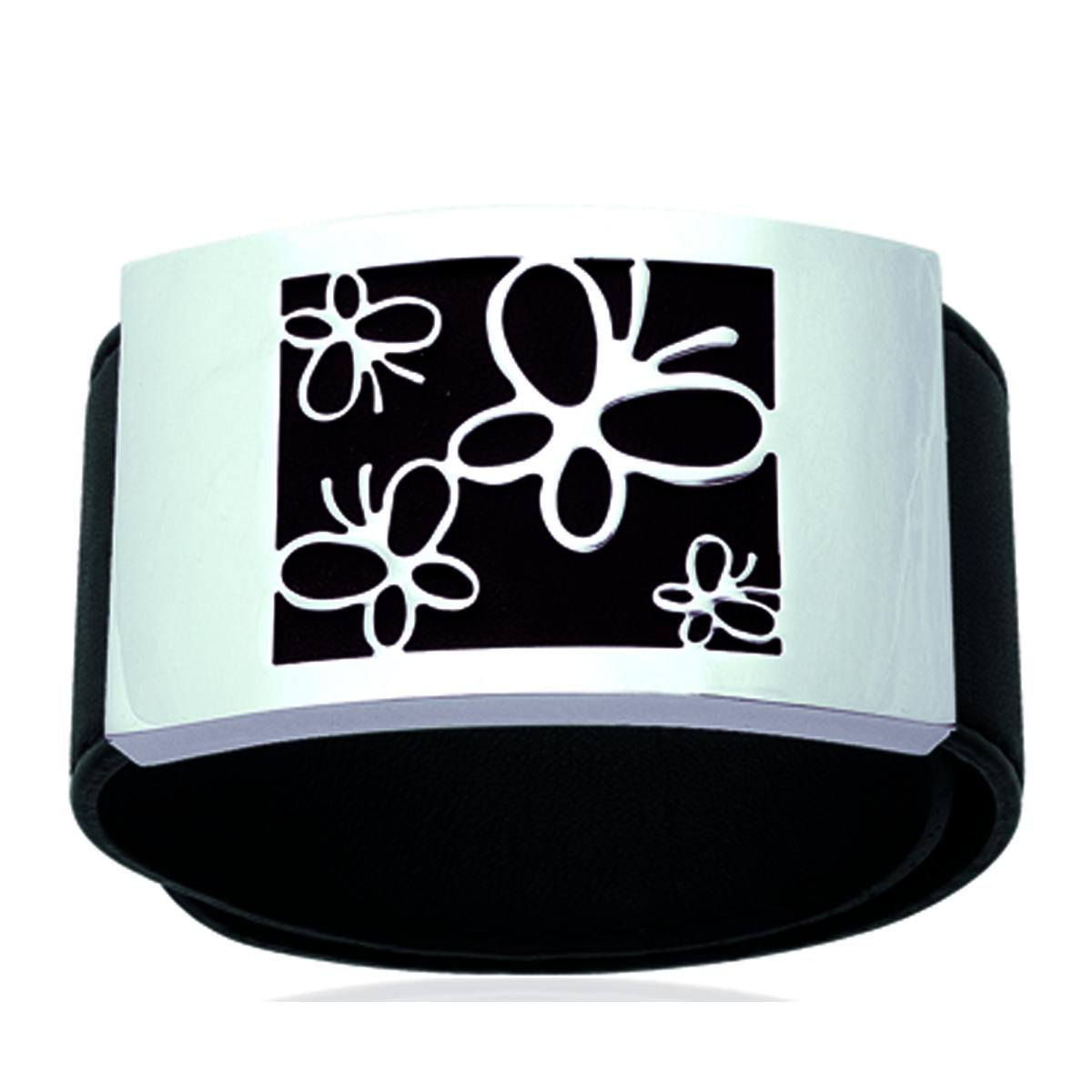 Bracelet Acier \'Papillons\' noir argenté - 55x30 mm - [I1177]