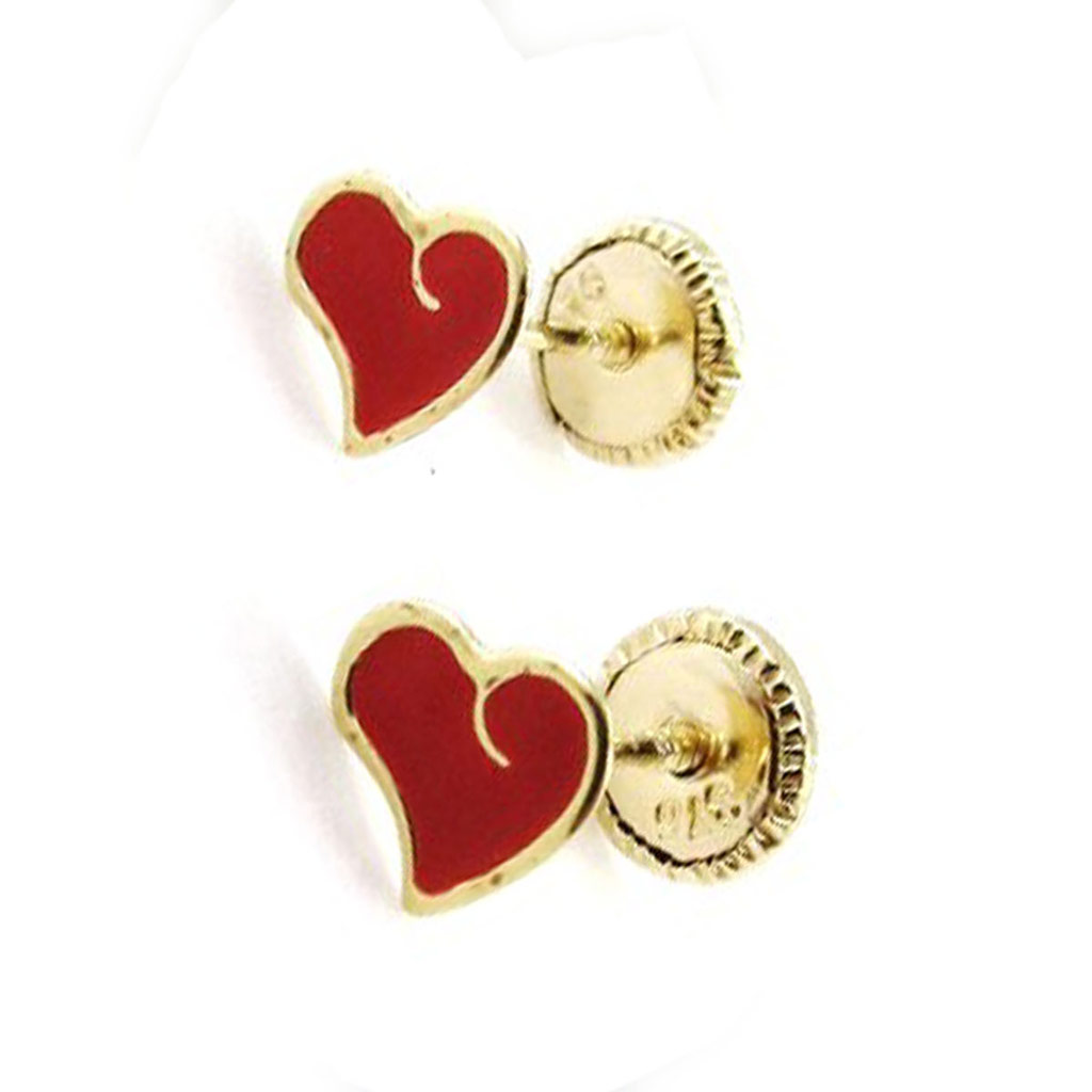 Boucles d\'Oreilles \'Love\' rouge (Or - 9 carats) - [J0414]