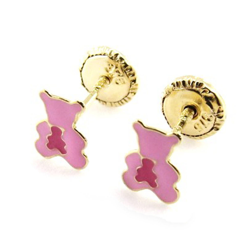 Boucles d\'Oreilles \'Teddies\' rose (Or - 9 carats) - [J0420]