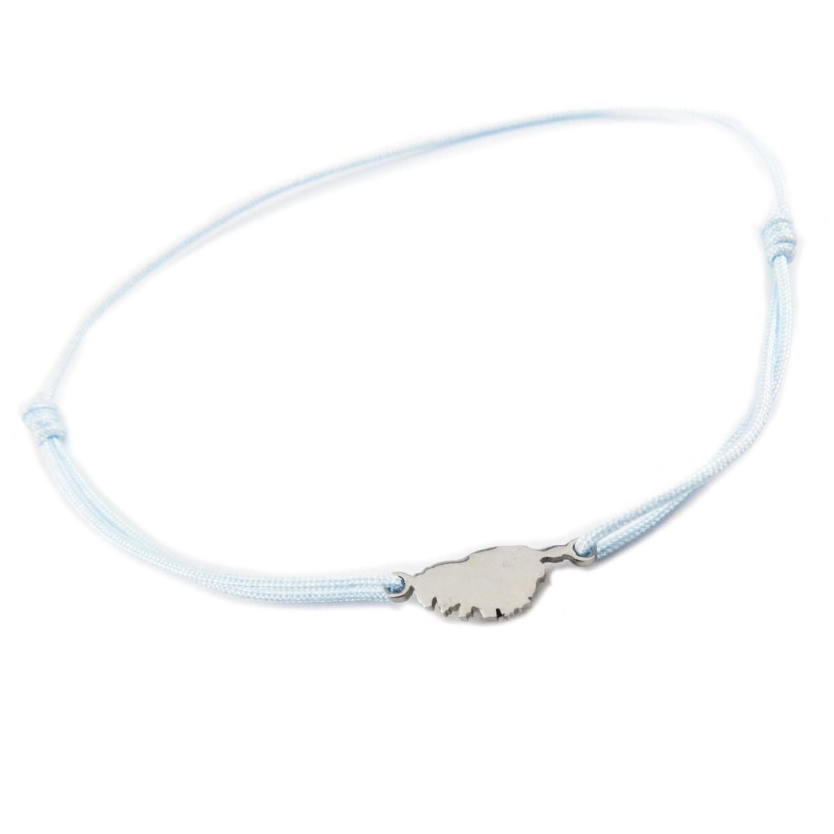 Bracelet acier \'Corsica\' bleu ciel argenté (corse) - 10x7 mm - [R0147]