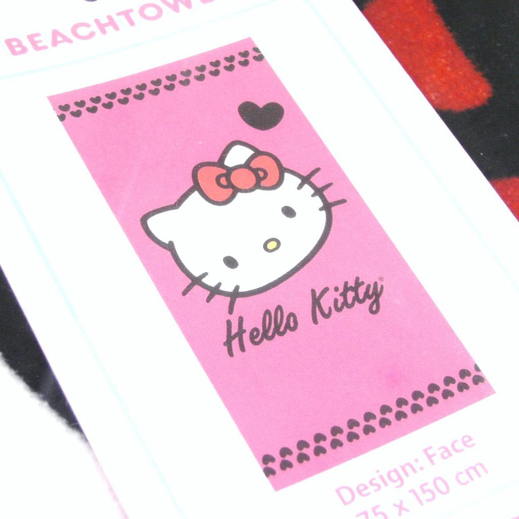 Drap de plage \'Hello Kitty\' rose (75x150 cm) - [G1045]