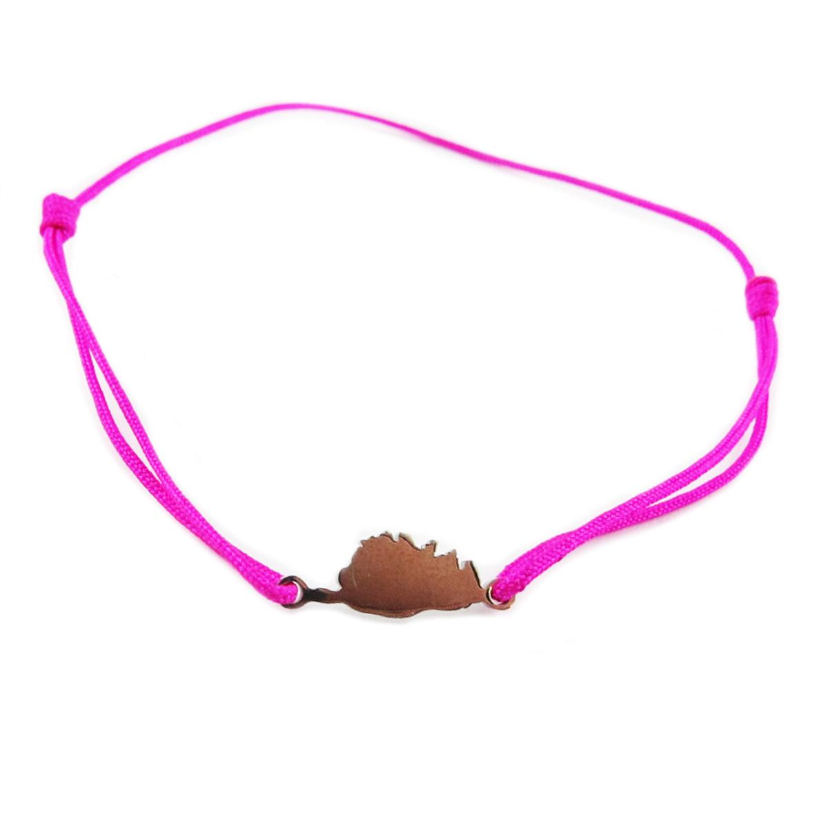Bracelet acier \'Corsica\' rose fuschia argenté (corse) - 10x7 mm - [R0151]