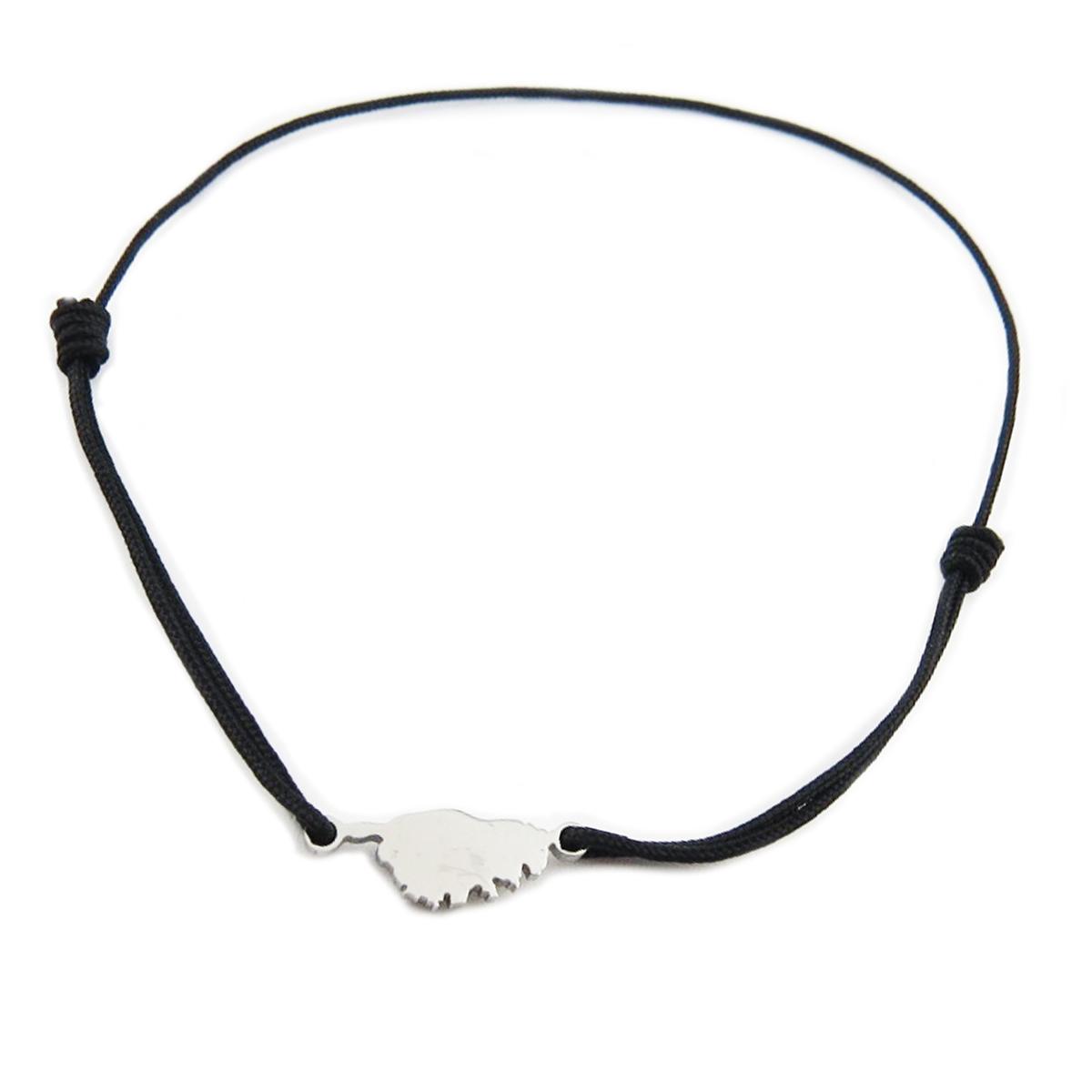 Bracelet acier \'Corsica\' noir argenté (corse) - 10x7 mm - [R0152]