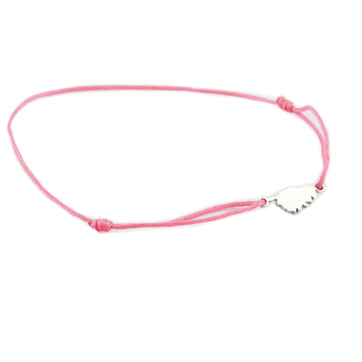 Bracelet acier \'Corsica\' rose argenté (corse) - 10x7 mm - [R0153]