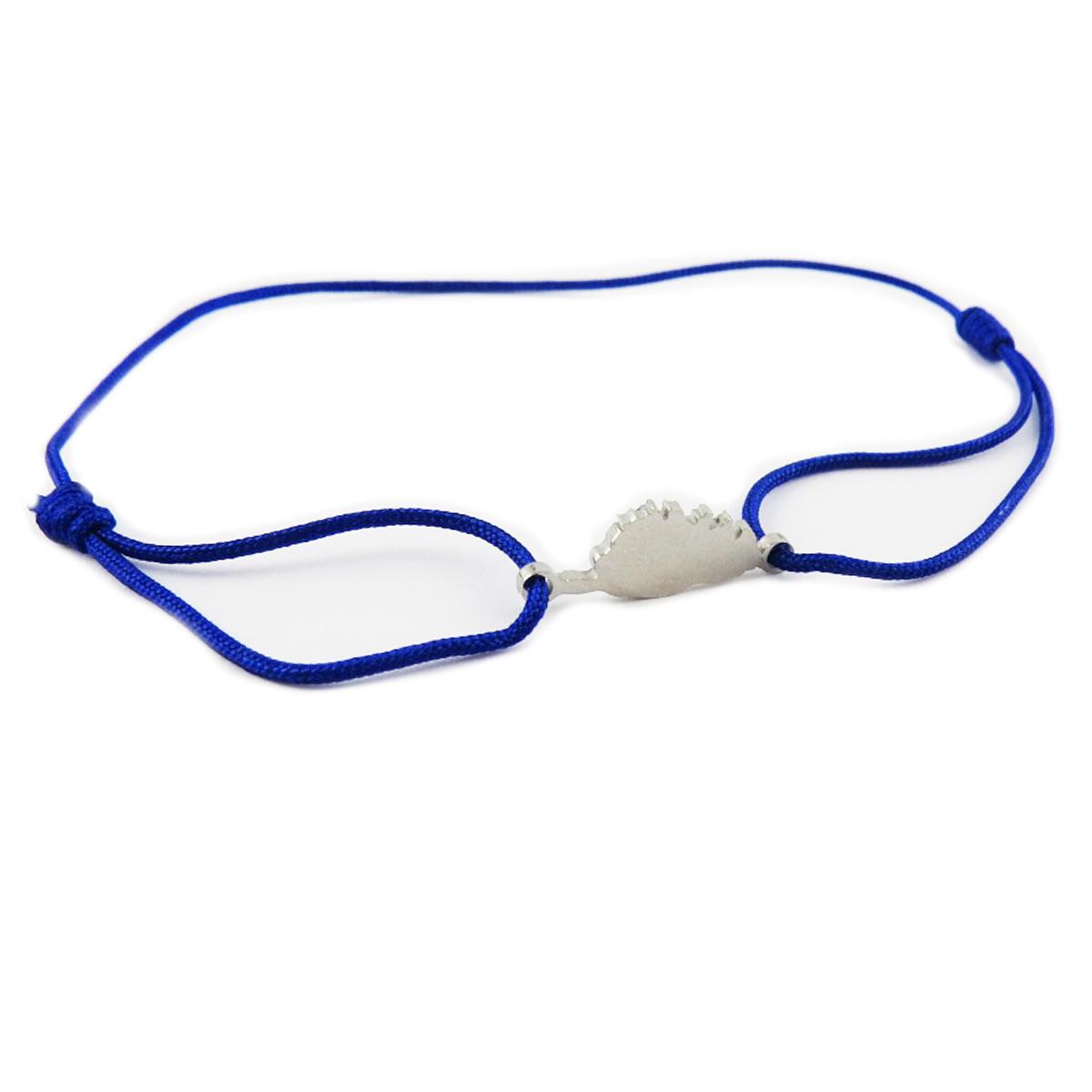 Bracelet acier \'Corsica\' bleu électrique argenté (corse) - 10x7 mm - [R0160]