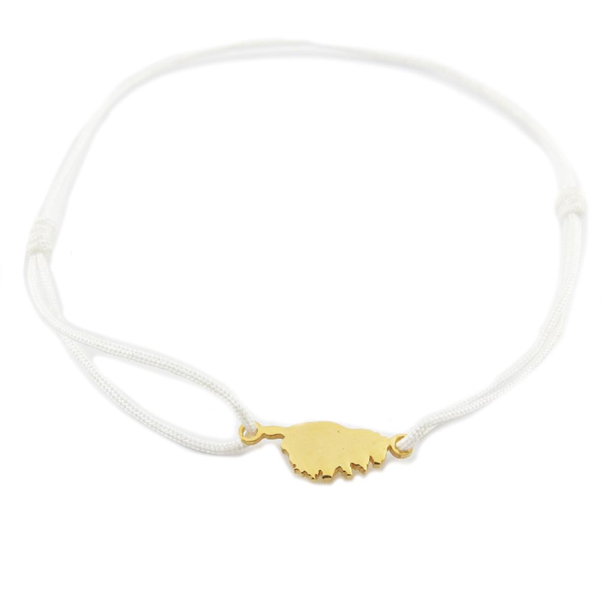 Bracelet acier \'Corsica\' blanc doré (corse) - 10x7 mm - [R0162]