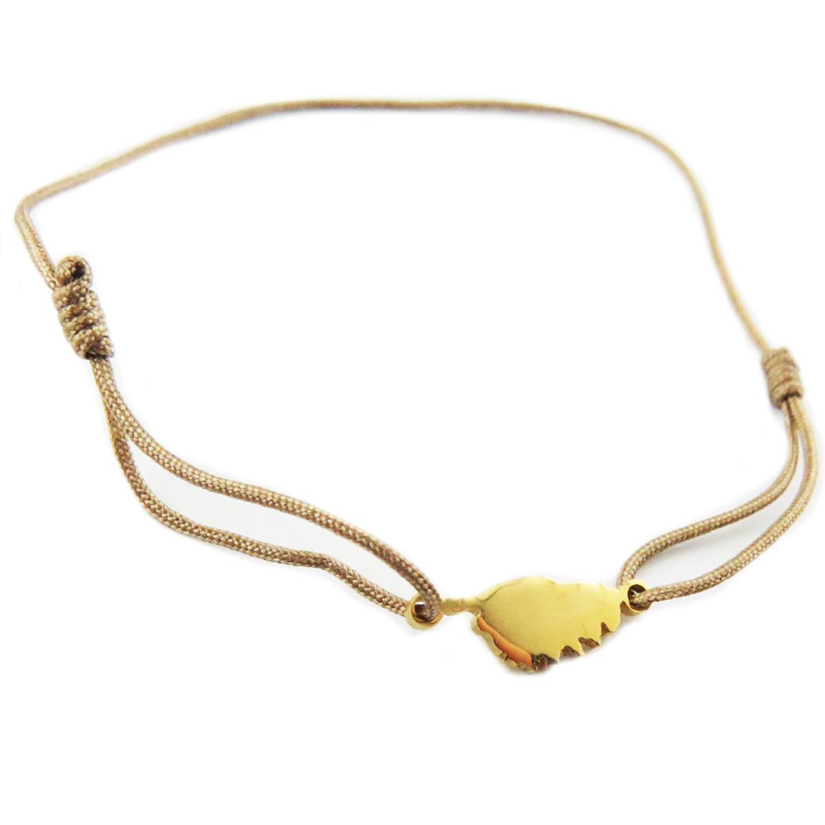 Bracelet acier \'Corsica\' taupe doré (corse) - 10x7 mm - [R0163]