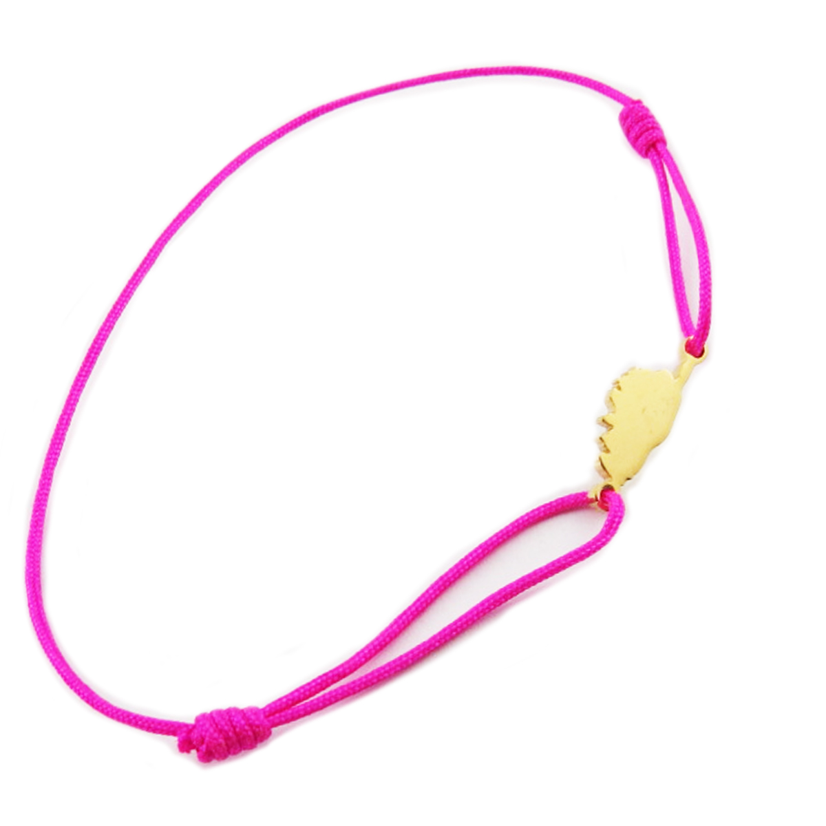 Bracelet acier \'Corsica\' rose fuschia doré (corse) - 10x7 mm - [R0165]
