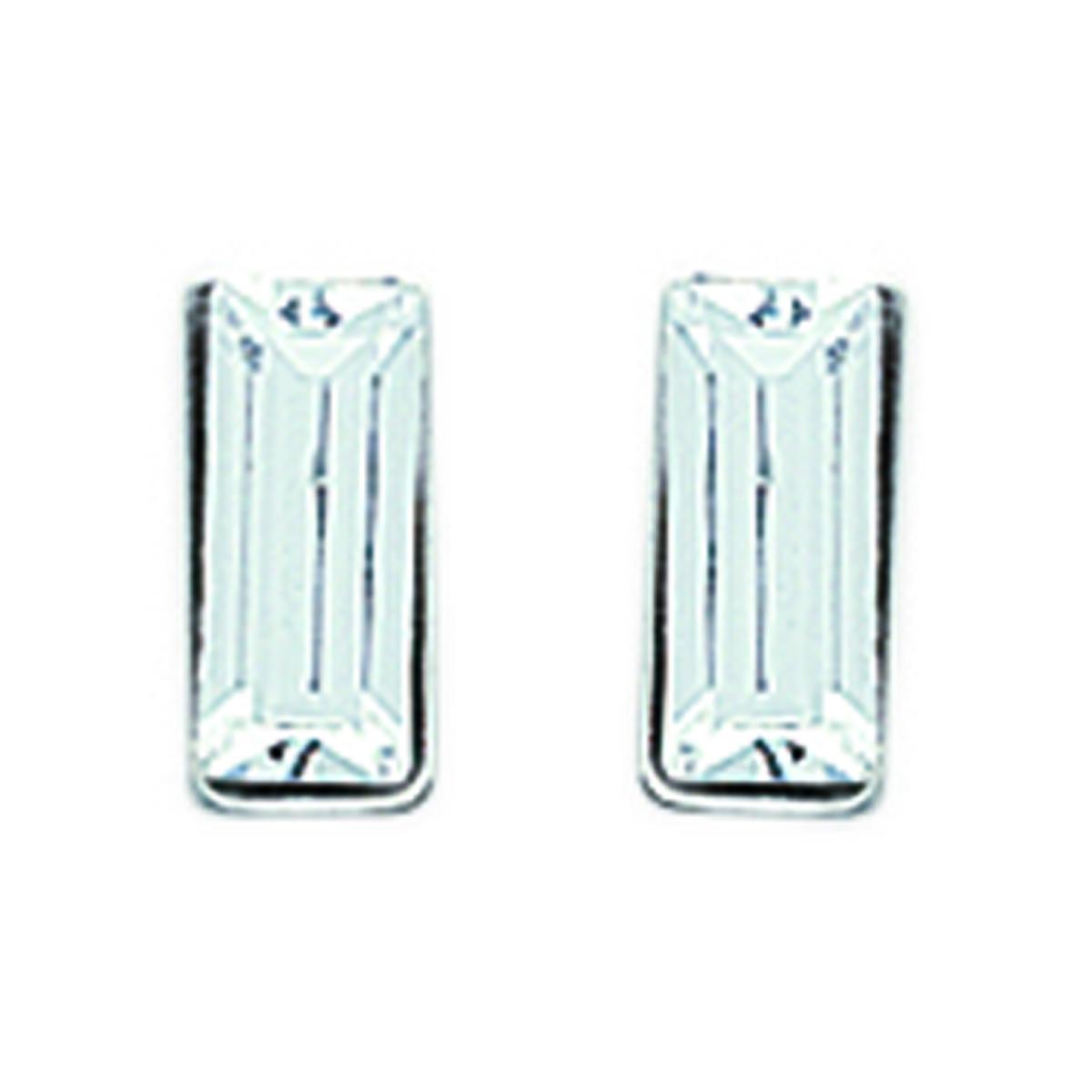 Brillants Rectangle Blanc Argent - 3x7 mm - [F3932]