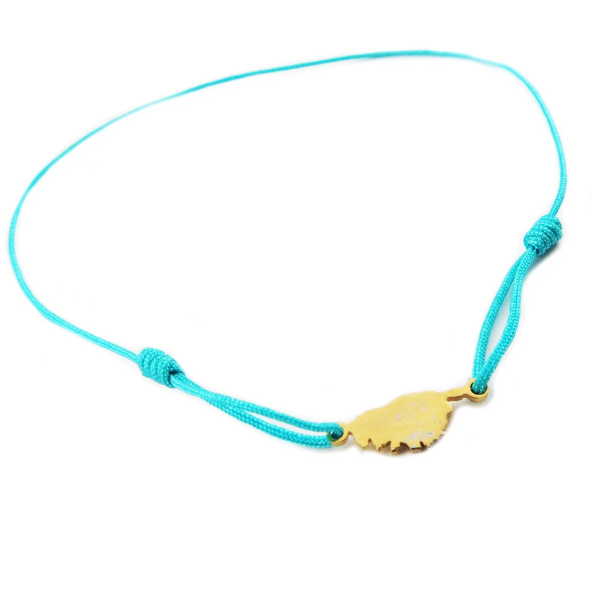 Bracelet acier \'Corsica\' turquoise doré (corse) - 10x7 mm - [R0167]