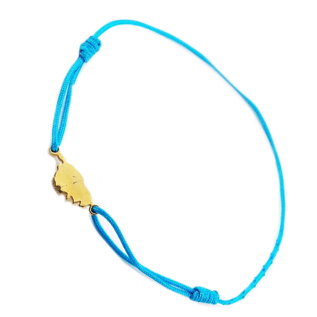 Bracelet acier \'Corsica\' bleu turquoise doré (corse) - 10x7 mm - [R0168]