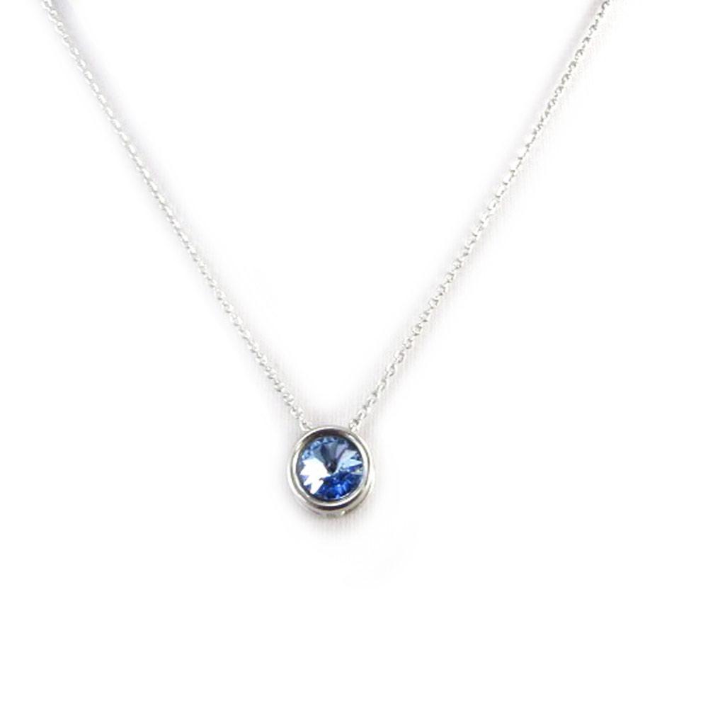 Collier Argent \'Sissi\' bleu ciel - [M0940]