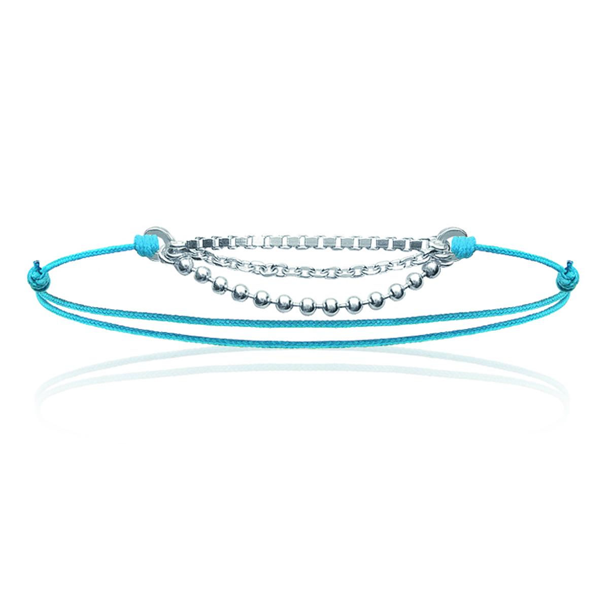 Bracelet Argent \'Billes\' turquoise argenté - 3 rangs - [J0812]